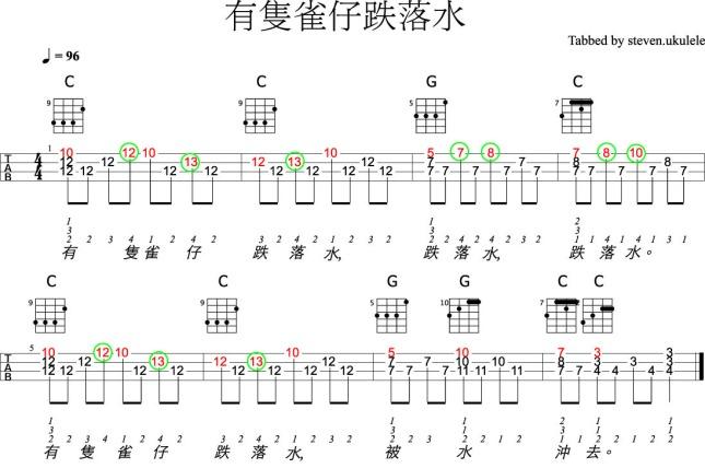 有隻雀仔跌落水-chord-solo01